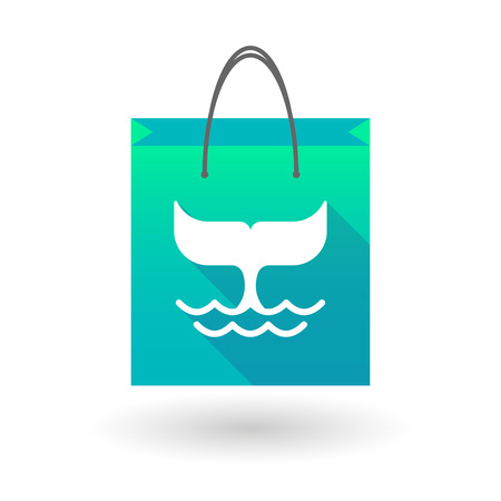 shopping bag icon: Illustration of a shopping bag icon with a whale tail Illustration