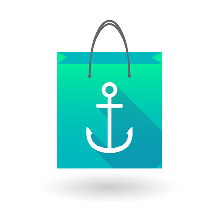 shopping bag icon: Illustration of a shopping bag icon with an anchor Illustration