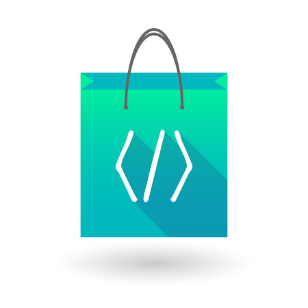 shopping bag icon: Illustration of a shopping bag icon with a code sign