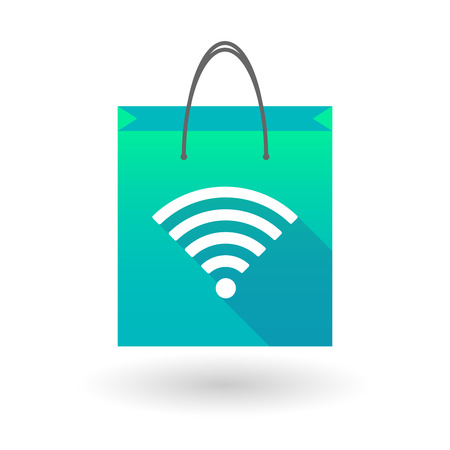 product signal: Illustration of a shopping bag icon with a radio signal sign