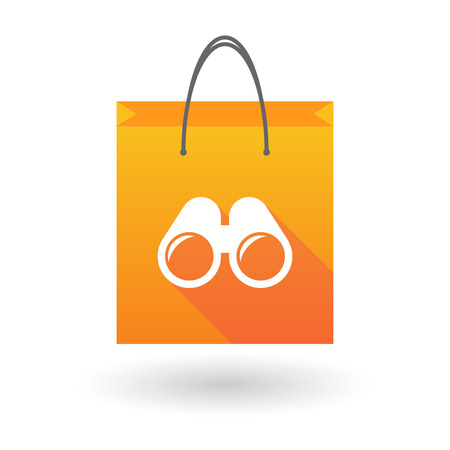 shopping bag icon: Illustration of a shopping bag icon with a binoculars