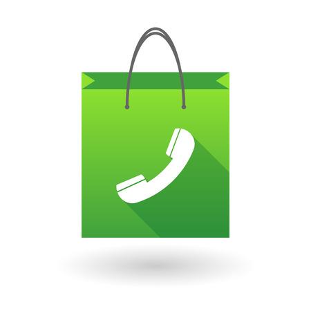 shopping bag icon: Illustration von einer Einkaufstasche Symbol mit einem Telefon