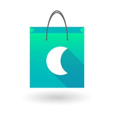 shopping bag icon: Illustration von einer Einkaufstasche Symbol mit einem Mond
