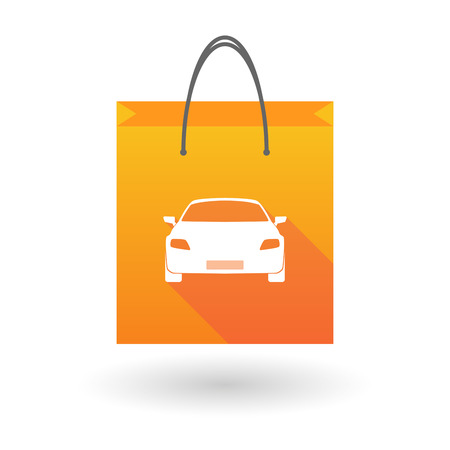 shopping bag icon: Illustration of a shopping bag icon with a car