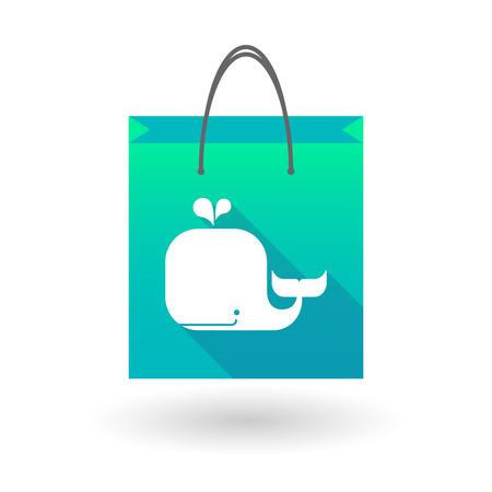 shopping bag icon: Illustration von einer Einkaufstasche Symbol mit einem Wal