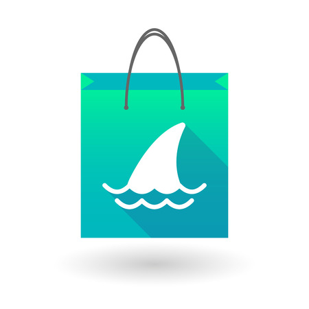 shark fin: Illustration of a shopping bag icon with a shark fin Illustration