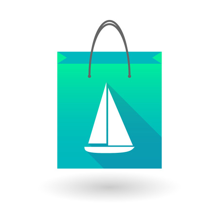 shopping bag icon: Illustration of a shopping bag icon with a ship