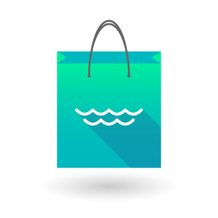 shopping bag icon: Illustration of a shopping bag icon with a sea sign