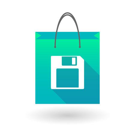 shopping bag icon: Illustration von einer Einkaufstasche mit einem Diskettensymbol Illustration