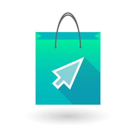 shopping bag icon: Illustration von einer Einkaufstasche Symbol mit einem Zeiger