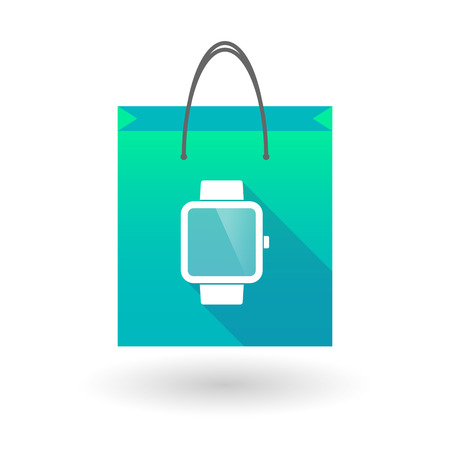 shopping bag icon: Illustration of a shopping bag icon with a smart watch