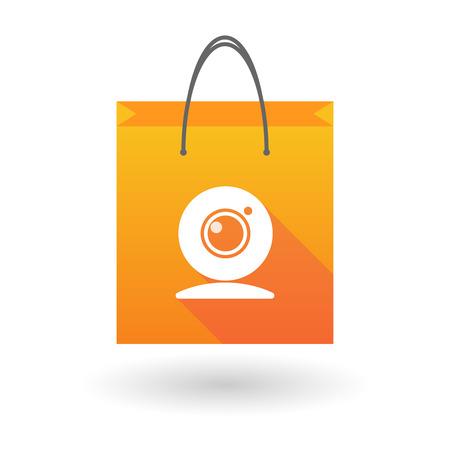 shopping bag icon: Illustration von einer Einkaufstasche Symbol mit einem Web-Cam Illustration