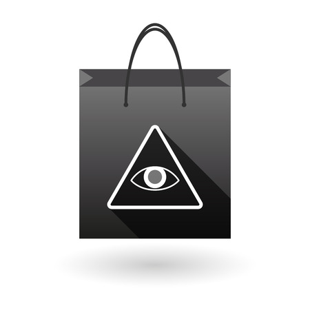 seeing: Illustration of a shopping bag icon with an all seeing eye
