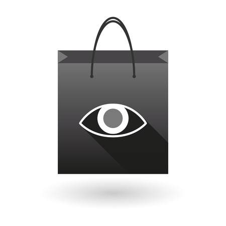 shopping bag icon: Illustration of a shopping bag icon with an eye