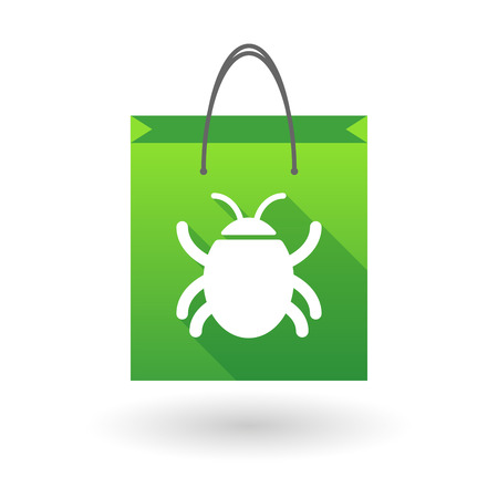 bugs shopping: Illustration of a shopping bag icon with a bug Illustration