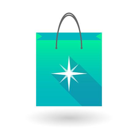 shopping bag icon: Illustration von einer Einkaufstasche Symbol mit einem Sternchen Illustration