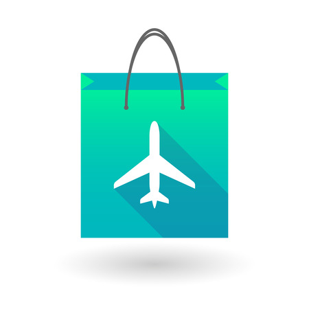 shopping bag icon: Illustration of a shopping bag icon with a plane Illustration
