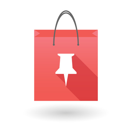 shopping bag icon: Red shopping bag icon illusdtration with a push pin Illustration