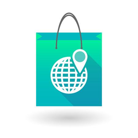 shopping bag icon: Blue shopping bag icon illusdtration with a world globe