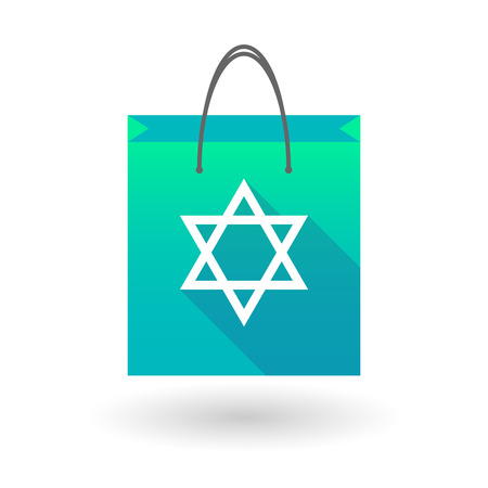 shopping bag icon: Blue shopping bag icon illusdtration with a David Star