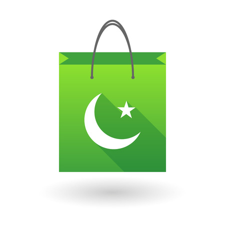 shopping bag icon: Green shopping bag icon illusdtration with an islam sign