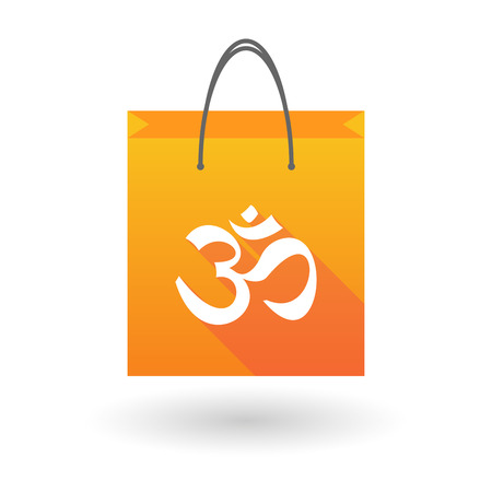 shopping bag icon: Orange shopping bag icon illusdtration with an om sign