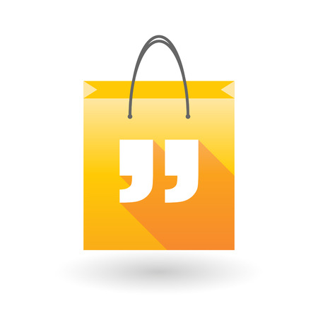 shopping bag icon: Yellow shopping bag icon illusdtration with quotes Illustration