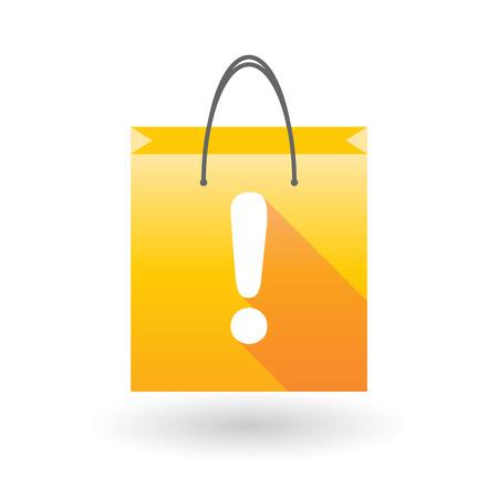 shopping bag icon: Gelbe Einkaufstasche Symbol illusdtration mit einem Ausrufezeichen
