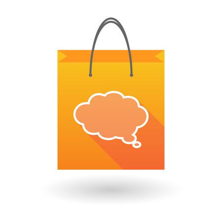 shopping bag icon: Orange Einkaufstasche Symbol illusdtration mit einer Wolke comic Ballon