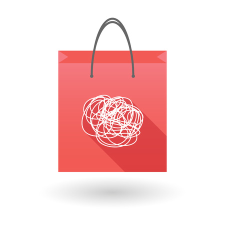 shopping bag icon: Red shopping bag icon illusdtration with a doodle Illustration