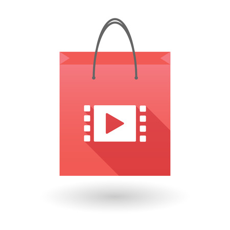 shopping bag icon: Red shopping bag icon illusdtration with a multimedia sign