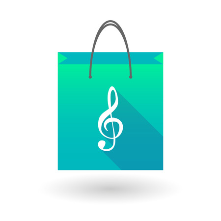 g clef: Blue shopping bag icon illusdtration with a g clef
