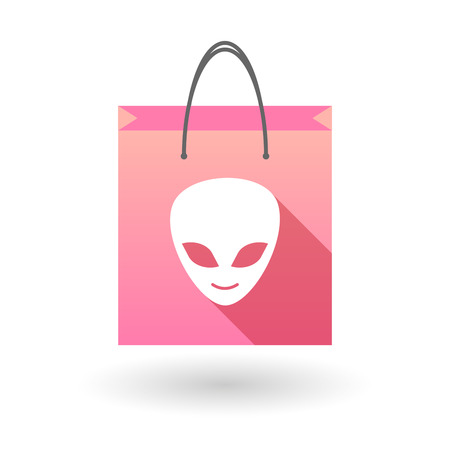 shopping bag icon: Pink shopping bag icon illusdtration with an alien face