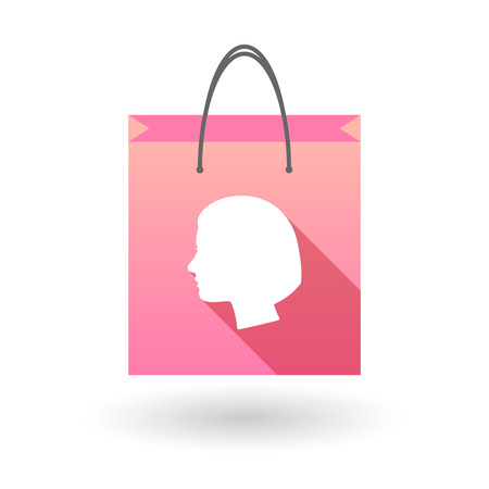 shopping bag icon: Pink shopping bag icon illusdtration with a woman head Illustration
