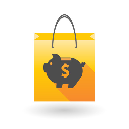 shopping bag icon: Yellow shopping bag icon illusdtration with a piggy bank