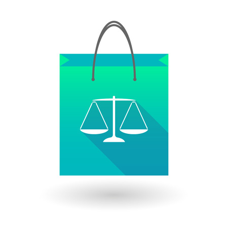 weighing scale: Illustraiton of a blue shopping bag icon with a  weight scale Illustration