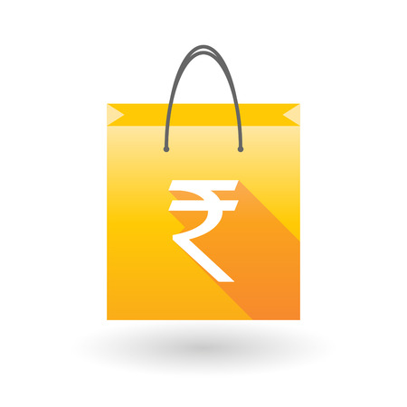 rupee: Illustration of a yellow shopping bag icon with a rupee sign