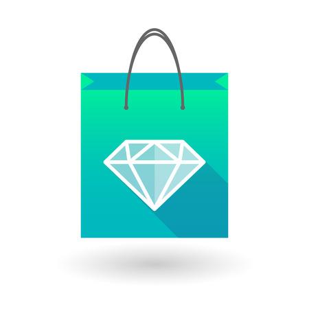 shopping bag icon: Illustraiton of a blue shopping bag icon with a  diamond Illustration