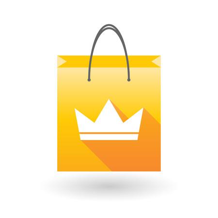 shopping bag icon: Illustration eines gelben Einkaufstasche Symbol mit einer Krone Illustration