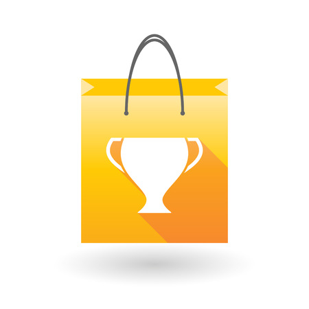 shopping bag icon: Illustration of a yellow shopping bag icon with an award cup
