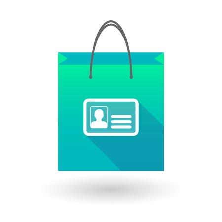 shopping bag icon: Illustraiton eines blauen Einkaufstasche Symbol mit einer ID-Karte