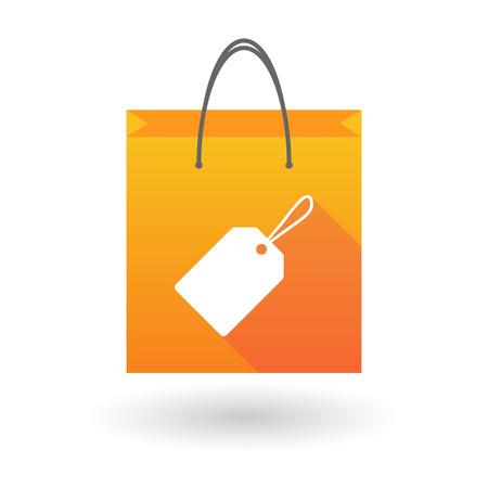 shopping bag icon: Illustration eines orange Einkaufstasche Symbol mit einem Shopping-Label