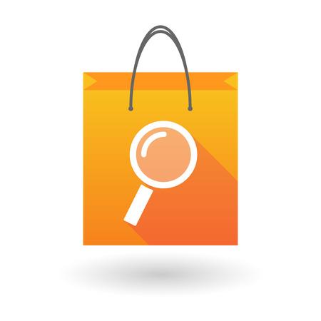 shopping bag icon: Illustration of an orange shopping bag icon with a magnifier Illustration