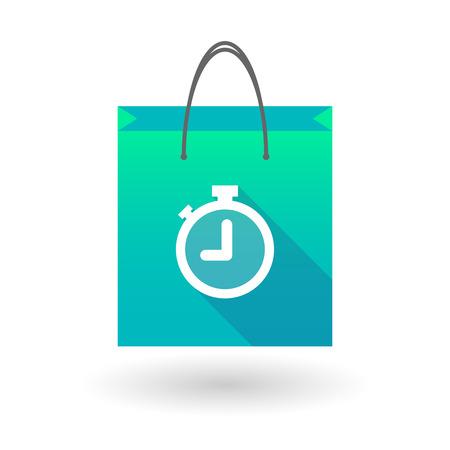 shopping bag icon: Illustraiton eines blauen Einkaufstasche Symbol mit einem Timer Illustration
