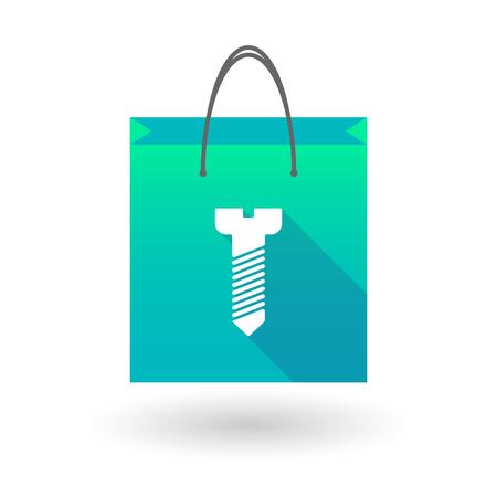 illustraiton: Illustraiton of a blue shopping bag icon with a  screw