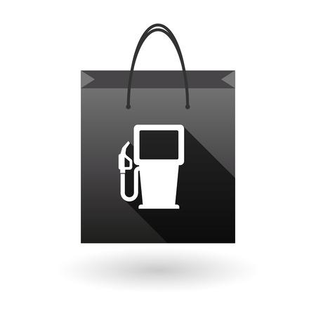 shopping bag icon: Illustration eines schwarzen Einkaufstasche Symbol mit einem Gas starion