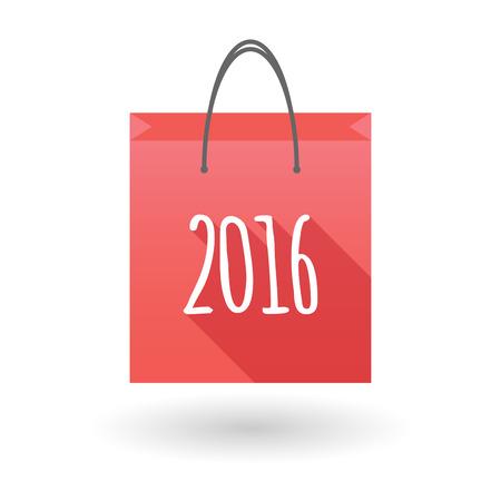shopping bag icon: Illustration einer roten Einkaufstasche Symbol mit einem 2016 Jahre Nummer Illustration