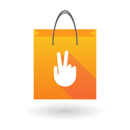 shopping bag icon: Illustration of an orange shopping bag icon with a victory hand