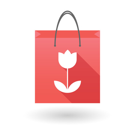 shopping bag icon: Illustration of a red shopping bag icon with a tulip