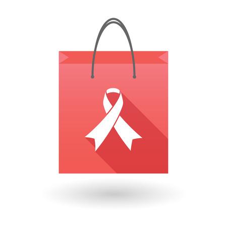 shopping bag icon: Illustration einer roten Einkaufstasche Symbol mit einem sozialen Bewusstseinsband Illustration